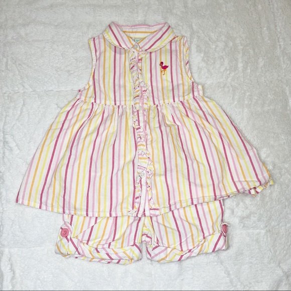 healthtex Other - HealthTex striped flamingo outfit
